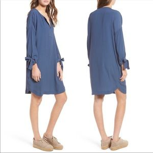 Madewell Dusty Blue High Low Dress with Pockets